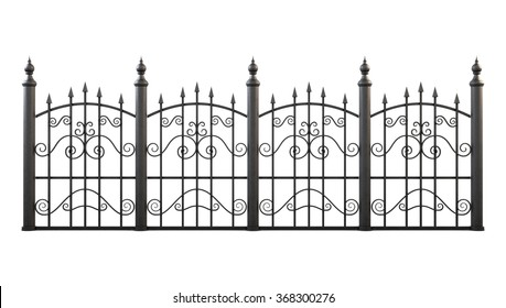 Wrought iron fence isolated on white background. 3d rendering.