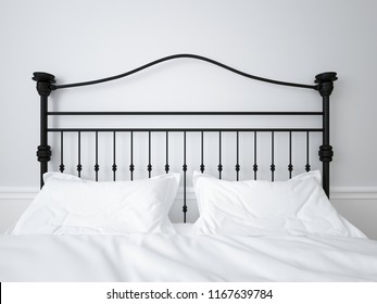 Wrought iron headboard, white linen on Double bed. 3d rendering