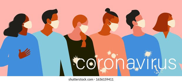 Wuhan Novel coronavirus 2019 nCoV, women and men with medical face mask. Concept of coronavirus quarantine. The virus is like blots illustration banner.