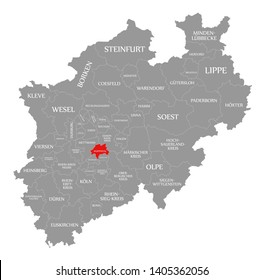 Wuppertal red highlighted in map of North Rhine Westphalia DE