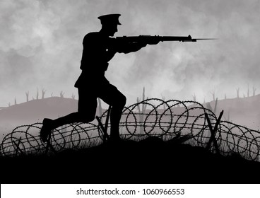 WW1 British soldiers silhouette. fighting on a battlefield with barbed wire.
