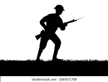WW1 British soldiers silhouette. White background.