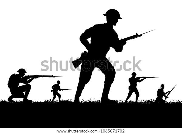 WW1 British soldiers silhouette. White background.