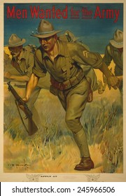 WWI. American Army recruiting poster showing soldiers with rifles charging. It reads, Men Wanted for the Army.' 1914.