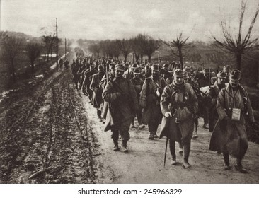WWI. An Austrian invading column marching through the flat country of Eastern Europe. Ca. 1914-17.