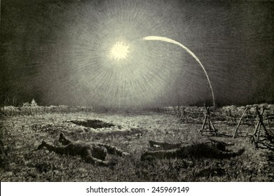 WWI. Both sides launched flares between the trenches at regular intervals to illuminate 'no man's land' to detect raiders. Ca. 1915-18.