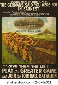 WWI. British recruiting poster issued by the War Office in 1915. It compares the battlefield to a sport field and encourages young men to 'Join the Football Battalion.'
