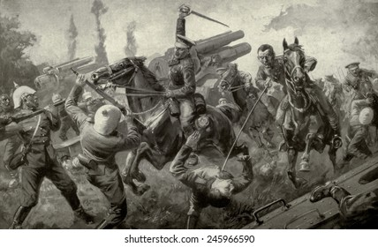WWI. Charge of the Ninth Lancers during the 'Great Retreat' from Mons to Cambrai attacking a German battery of eleven guns. August 25, 1914.