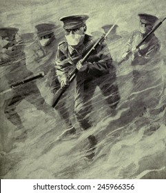 WWI. Dramatic illustration of a British bayonet charge through poison gas. On April 22, 1915, German forces introduced the use of lethal chlorine gas at Ypres, Belgium.