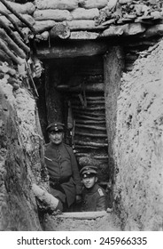 WWI. German Bomb-proof shelter, five yards deep. On the Western Front, German trenches were the most developed and effective at protecting troops from enemy artillery. Western Front, ca. 1915-18.