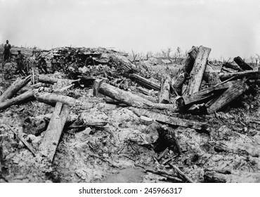 WWI. German trenches churned by British artillery shells. Big guns and massive shells turned the battlefields into wastelands. Western Front, ca. 1915-18.