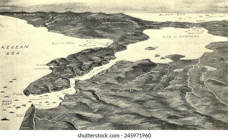 WWI. Map of the Turkish Straits of the Dardanelles with the British fleet at the far right. The British goal was to control the Strait then capture Istanbul (Constantinople) and the Bosporus. 1915.