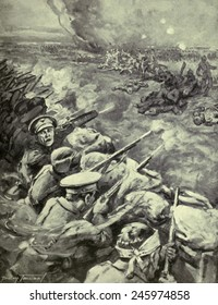 WWI. Propagandistic British illustration of a German counter-attack on the British occupied Hohenzollern Redoubt, an extension of the Battle of Loos (Sept. 25-Oct. 13, 1915).