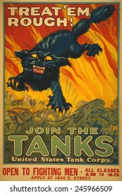 WWI. Recruiting poster for the United States Tank Corps. Poster shows a black cat with fangs and claws leaping above a battlefield with tanks. 1917.