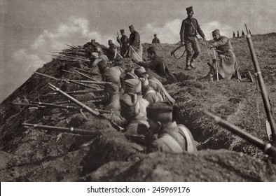 WWI. Serbia trench position at the crest of a hill. Ca. 1914-18.