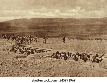WWI. Turkish troops leaving their trenches for a charge in a battle with French and British Troops in the early stages of the Gallipoli fighting. 1915.