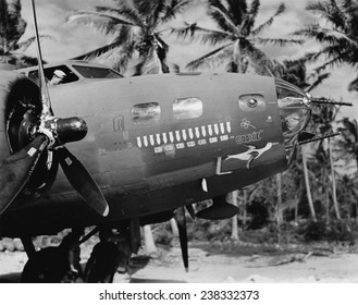 WWII 'The Flying Fortress Goonie has seven Jap Zeros to her credit in 15 combat missions in the South Pacific. This is not an unusual record for these American Air force fighting bombers', ca 1942