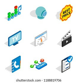 WWW age icons set. Isometric set of 9 www age icons for web isolated on white background