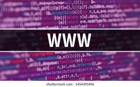 www concept with Random Parts of Program Code. www with Programming code abstract technology background of software developer and Computer script. www Background concept