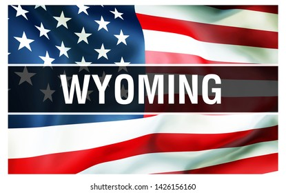 Wyoming state on a USA flag background, 3D rendering. United States of America flag waving in the wind. Proud American Flag Waving, US Wyoming state concept. US symbol and American Wyoming background