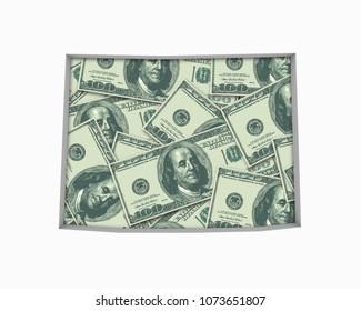 Wyoming WY Money Map Cash Economy Dollars 3d Illustration