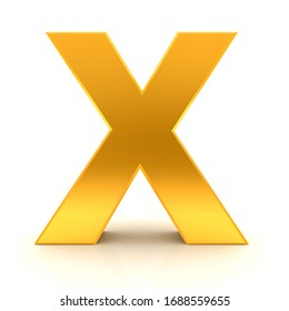 X letter gold sign 3d rendering