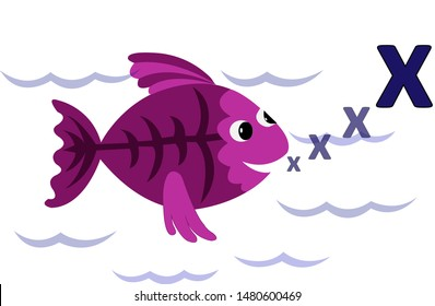 An x ray fish blowing a letter X.
