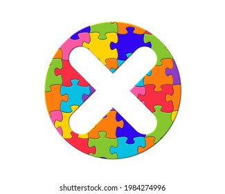 x rejection no sign, Jigsaw Autism Puzzle Icon Logo, 3d illustration