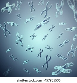 X-chromosomes on grey background, scientific and biology concept. 3d illustration