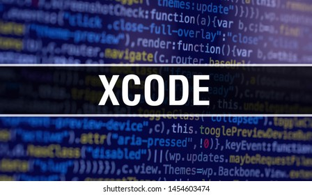 XCODE with Abstract Technology Binary code Background.Digital binary data and Secure Data Concept. Software / Web Developer Programming Code and XCODE. XCODE Java Script Abstract Computer Script