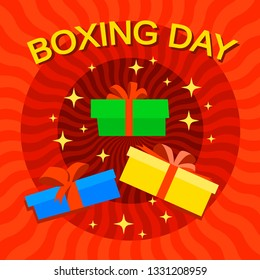 Xmas boxing day concept background. Flat illustration of xmas boxing day concept background for web design