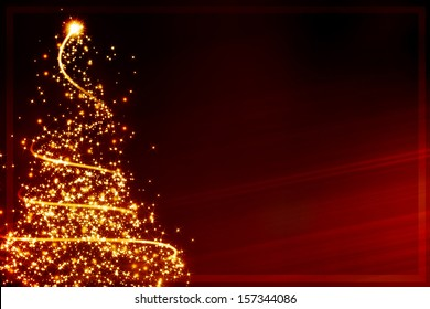 xmas greeting card: abstract christmas tree formed by blurred lights