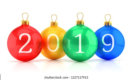 Xmas and New Year 2019 greeting card concept. Group of colorful glossy christmas tree glass balls with numbers isolated on white background. 3D illustration