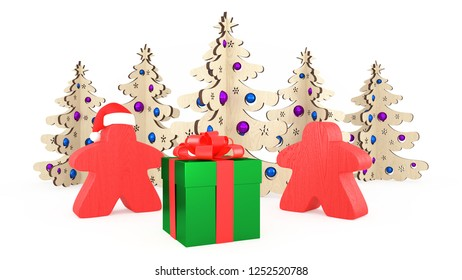 Xmas and New Year in the style of board games. Two orange Meeples stand by a gift box. Christmas decorations trees. 3d Illustrations