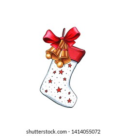 Xmas sock hand drawn  illustration. Christmas, New Year decoration. Xmas stocking with bow isolated design element. Winter holiday greeting card, poster, color clipart