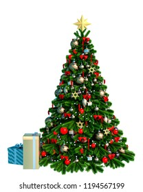 xmas tree in a white background. This guy will put some fun in yours creations, 3d illustration