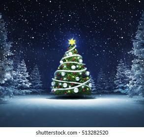 xmas tree in winter snowy woods, blue seasonal landscape background 3D illustration
