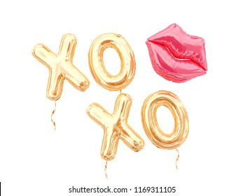 XOXO balloon letters and lips balloon isolated on white. 3d rendering.