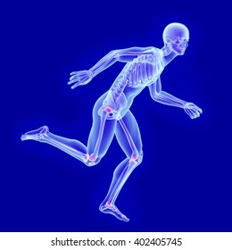 X-ray anatomy of a running man with visible skeleton and joint damage 3d render