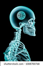 X-ray bitcoin concept / 3D illustration of skeleton x-ray showing bitcoin inside head