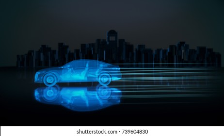 X-ray concept car with city background.3D render