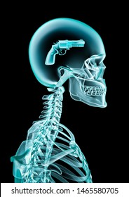 X-ray criminal mind / 3D illustration of human skeleton x-ray showing handgun inside head