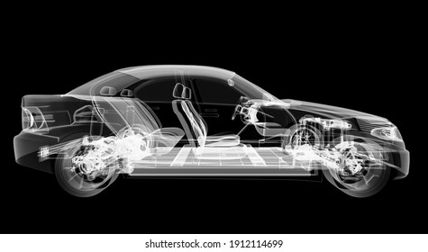 X-ray of electric car with chassis isolated on black background. 3D illustration