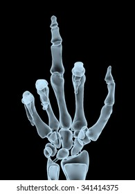 x-ray hand making offensive gesture, 3d illustration
