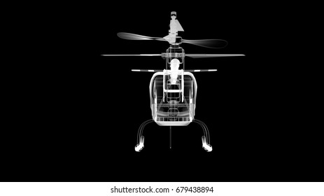 X-Ray Helicopter 3D-illustration