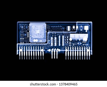 X-ray image of couple engine control unit or ECU in Motorcycle is a type of electronic control