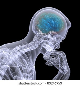X-Ray of a male skeleton in a thinker pose with his brain displayed. Isolated on a black background