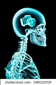 X-ray photographic memory / 3D illustration of human skeleton x-ray showing digital camera inside head