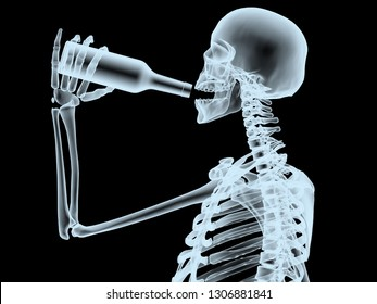 xray scheleton while drinking from the bottle, 3d illustration