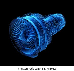 X-ray style turbofan jet engine isolated on black background. 3D rendering image.